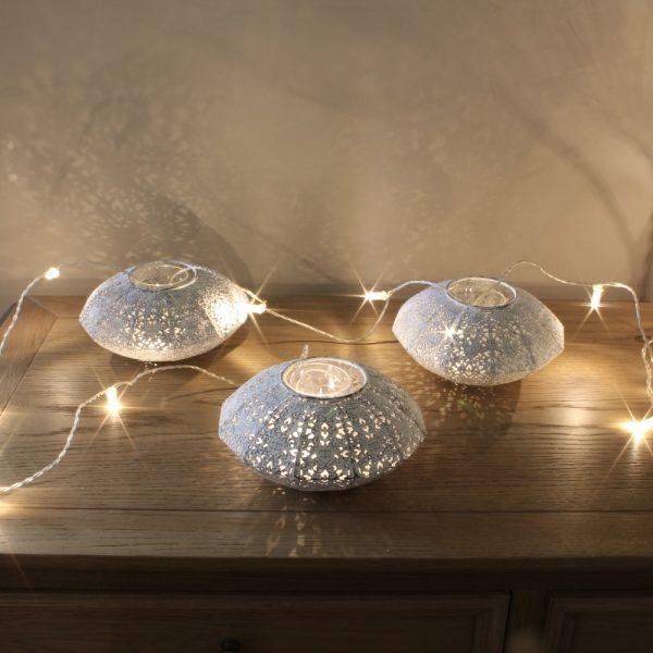 3 filigree votive lanterns