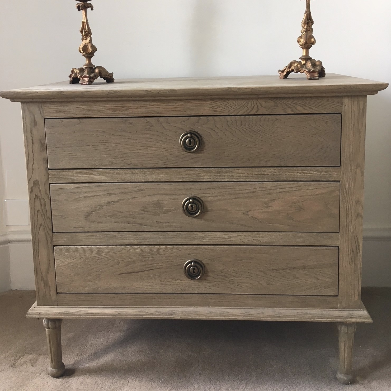 Weathered oak three drawer chest