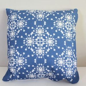 Blue Linen Cushion with parsley pattern