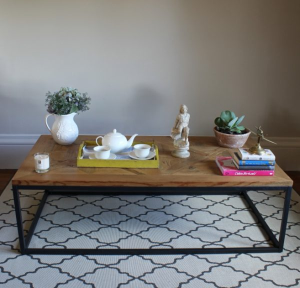 Reclaimed parquet table with metal frame