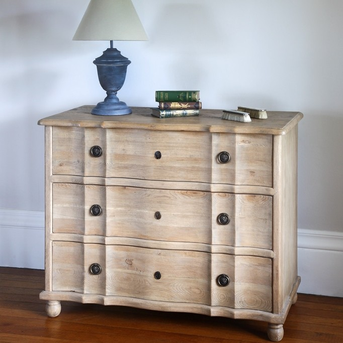 Weathered Oak three drawer chest Claude