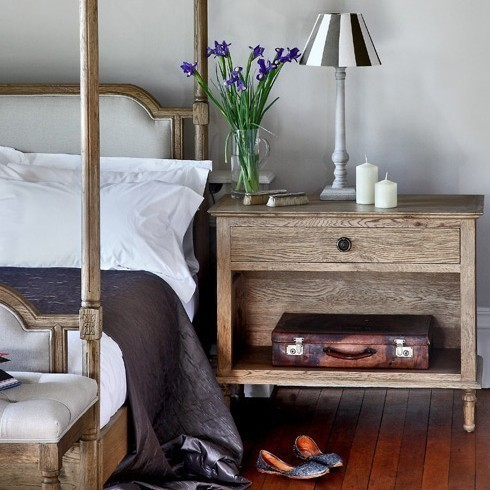 Melbury Console bedside table in weathered oak