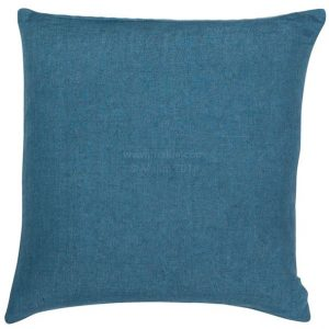 Blue linen square cushion