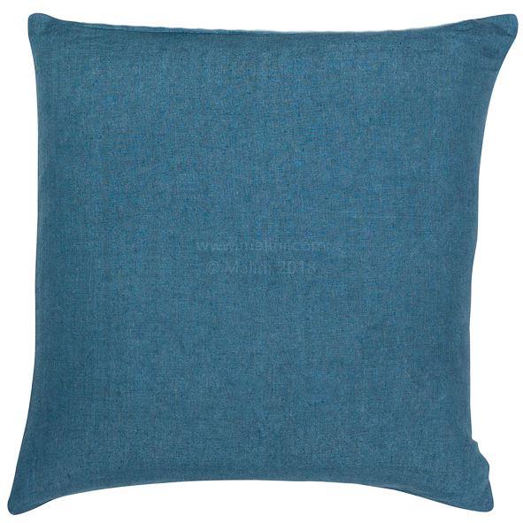 Blue linen square cushion