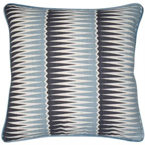 Geometric Cushion in blue and grey