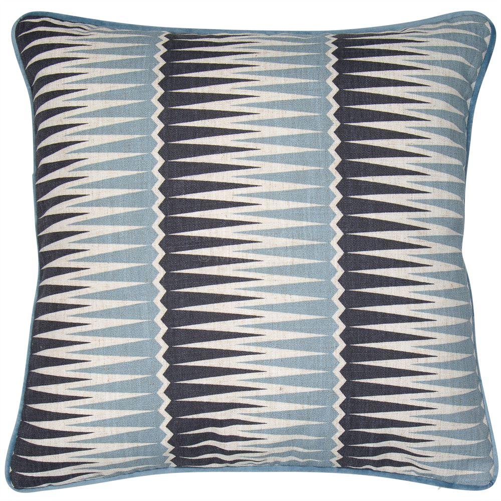 Geometric Cushion in blue and grey