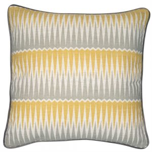 Geometric square cushion in yellow and grey