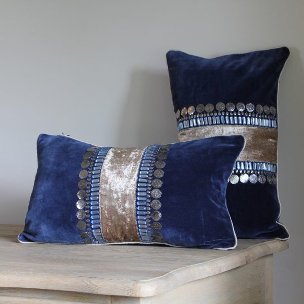 Rectangular midnight blue velvet and silver cushion