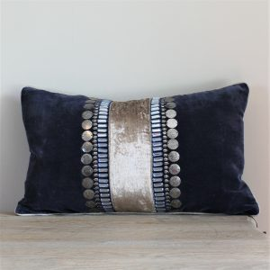 Blue and Silver luxury velvet cushion