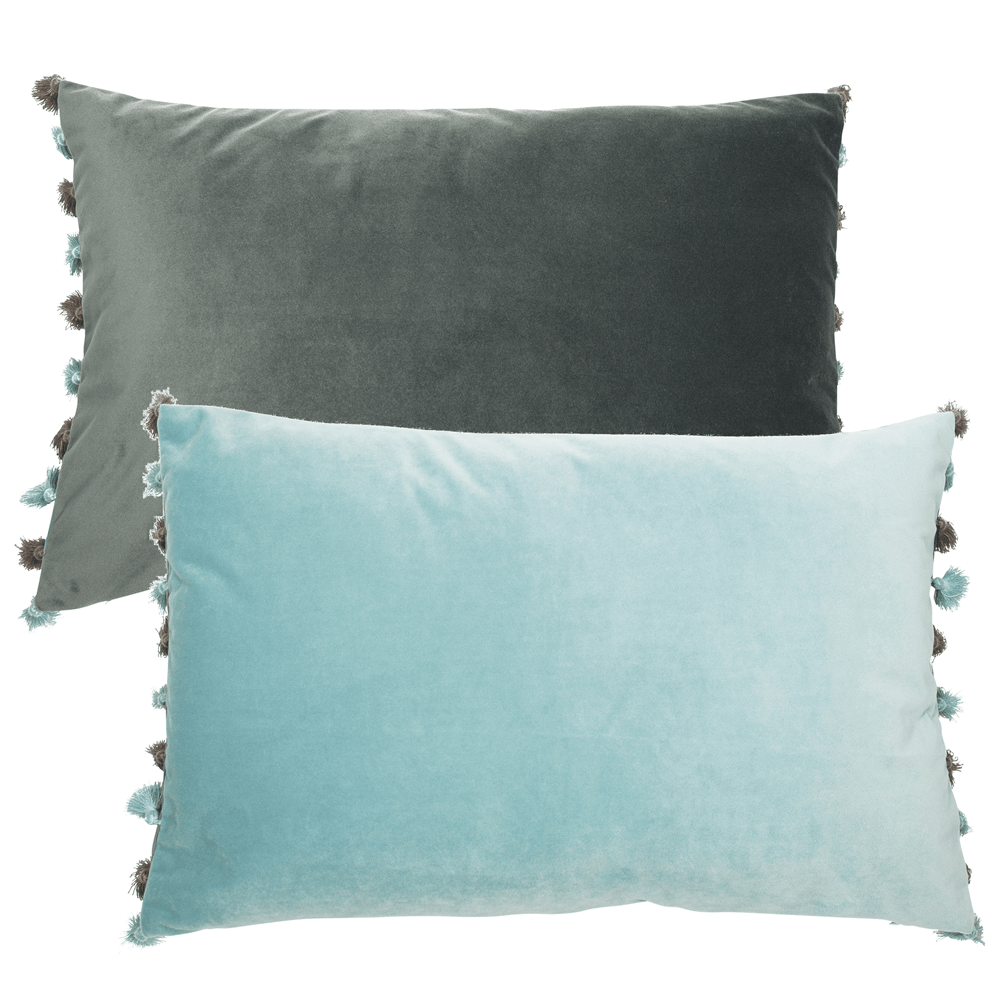Rectangular ve;vet cushion in teal and aqua