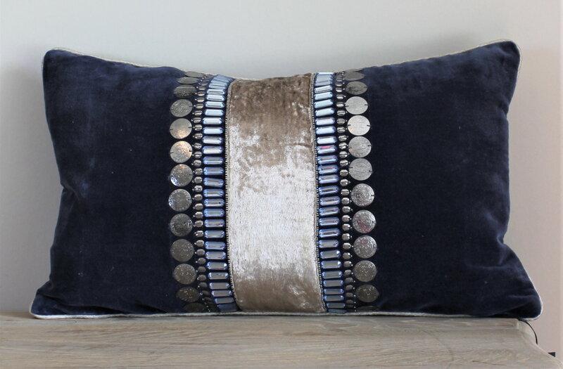 Blue Velvet and silver cushion