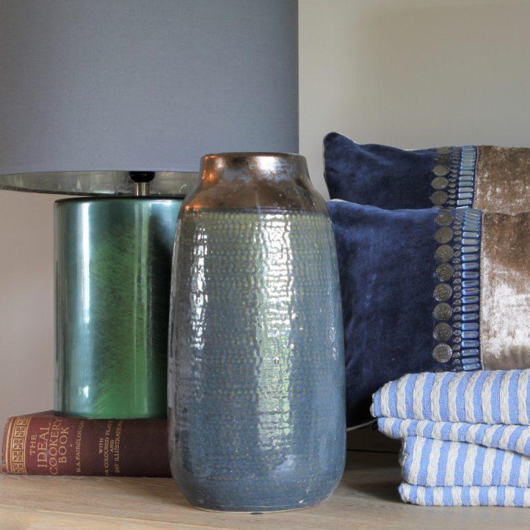 Tall blue vase
